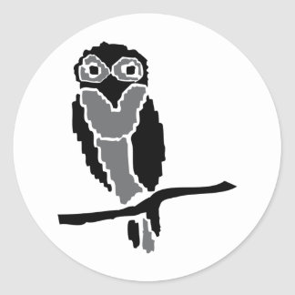 owlet del noctámbulo etiqueta redonda