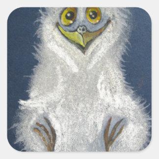 Owlet divertido - pájaro de bebé pegatinas cuadradases