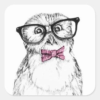 Owlet Nerdy pequeño pero elegante Calcomanía Cuadradas Personalizadas