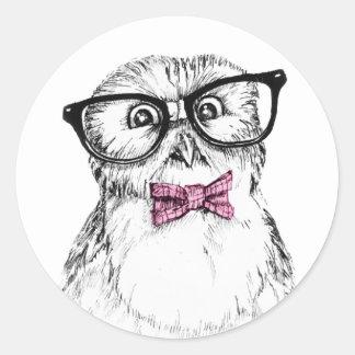 Owlet Nerdy pequeño pero elegante Pegatina Redonda
