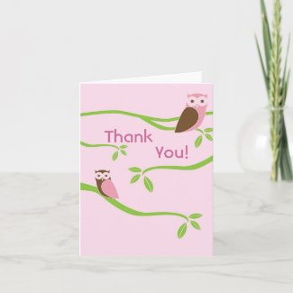 Owlet Tree Thank You Card - Pink card