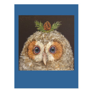 owlet with tamarack postcard