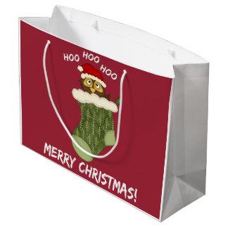 OwlHooHooChristmas Large Gift Bag