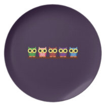 OWLIE BOO - Colorful owls Plate