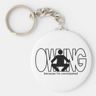 Owling - porque Constipated Llavero Redondo Tipo Pin