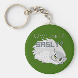 Owling Seriously Basic Round Button Keychain