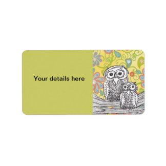 Owls 03 address label