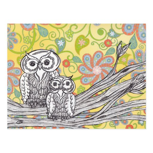 Owls 03 postcard