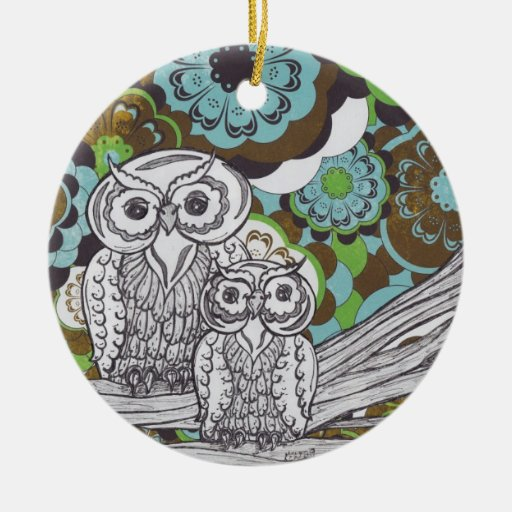 Owls 34 Double-Sided ceramic round christmas ornament