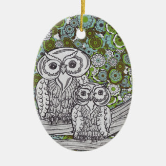Owls 35 ceramic ornament
