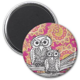 Owls 36 Round Magnet