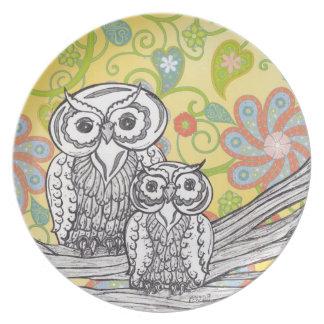 Owls 3 Plate