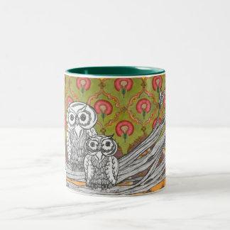 Owls 4 Two-Tone coffee mug