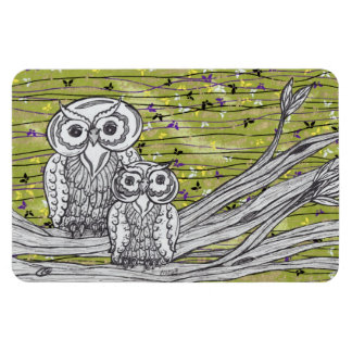 Owls and Butterflies 2 Large Magnet