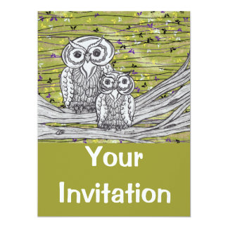 "Owls and Butterflies Invitations 6.5"" X 8.75"" Invitation Card"