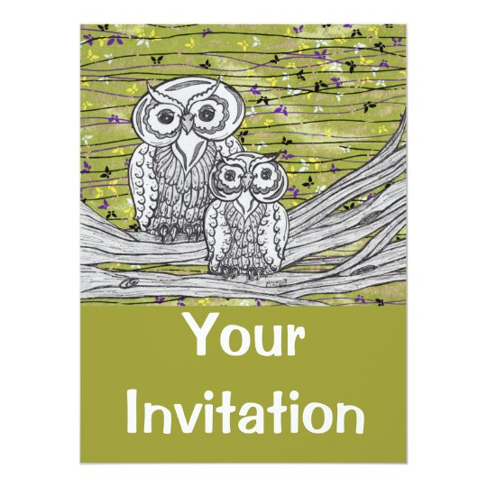 Owls and Butterflies Invitations