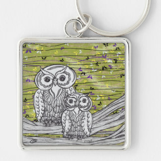 Owls and Butterflies Keychain
