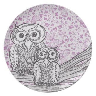 Owls and Butterflies Plate