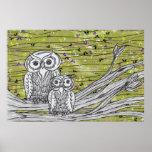 Owls and Butterflies Print