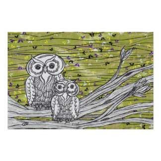 Owls and Butterflies Print