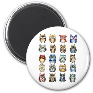 Owls and Cat 2 Inch Round Magnet