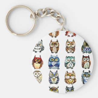 Owls and Cat Basic Round Button Keychain