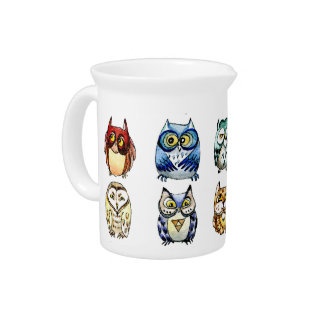 Owls and Cat Drink Pitcher