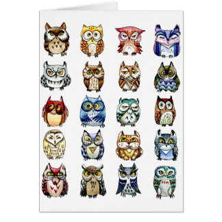 Owls and Cat Greeting Card