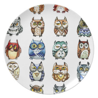 Owls and Cat Party Plate