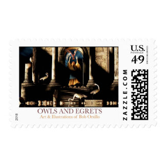 Owls and Egrets Postage Stamps