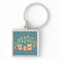 owls and flowers keychain