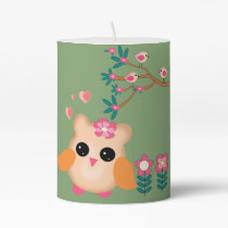 owls and flowers pillar candle