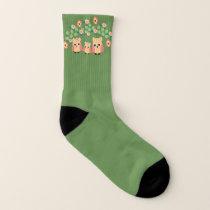 owls and flowers socks
