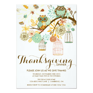 Owls and Flowers Thanksgiving Dinner Invitation