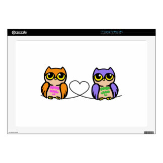 """Owls And Heart 17"""" Laptop Decal"""