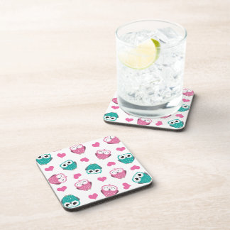 Owls and Hearts Cork Coaster