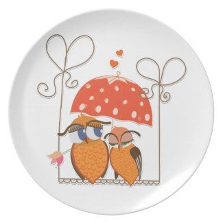 Owls and Hearts plate