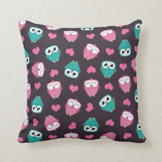 Owls and Hearts Throw Pillow