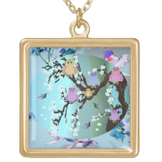Owls and hummingbirds square pendant necklace