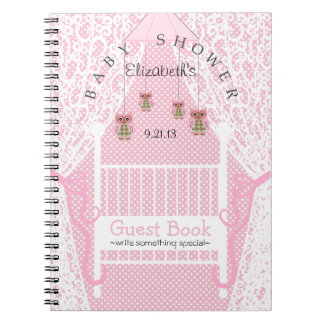 Owls and Lace Pink Baby Shower Guest Book- Spiral Notebook