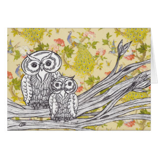Owls and Peacocks greeting card
