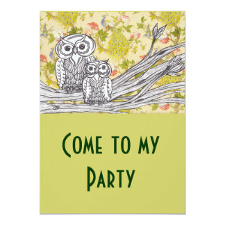 Owls and Peacocks Invitations