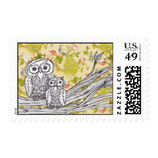 Owls and Peacocks postage