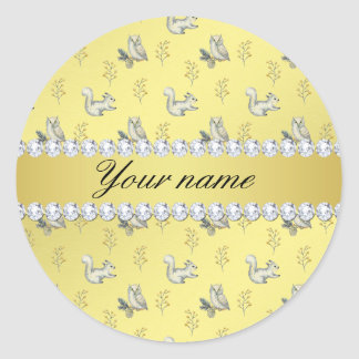 Owls and Squirrels Faux Gold Foil Bling Diamonds Classic Round Sticker