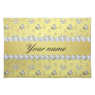 Owls and Squirrels Faux Gold Foil Bling Diamonds Cloth Placemat