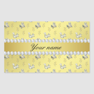 Owls and Squirrels Faux Gold Foil Bling Diamonds Rectangular Sticker