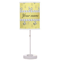 Owls and Squirrels Faux Gold Foil Bling Diamonds Table Lamp