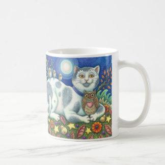 Owls And The Pussycat Folk Art Cat R Hand Mug