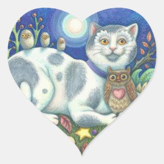 Owls And The Pussycat Folk Art CAT STICKERS Sheet