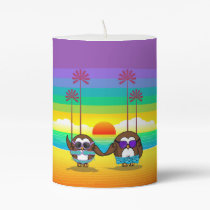 owls are back to vacations! pillar candle